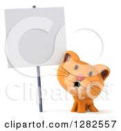 Clipart Of A 3d Ginger Cat Smiling Under A Blank Sign Royalty Free Vector Illustration by Julos
