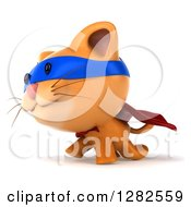 Clipart Of A 3d Super Hero Ginger Cat Walking To The Left Royalty Free Vector Illustration by Julos