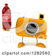 Clipart Of A 3d Yellow Camera Character Holding And Pointing To A Soda Bottle Royalty Free Vector Illustration