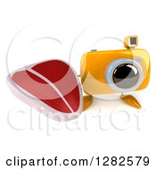 Clipart Of A 3d Yellow Camera Character Holding Up A Beef Steak Royalty Free Vector Illustration