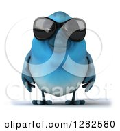 Clipart Of A 3d Bluebird Wearing Sunglasses Royalty Free Vector Illustration by Julos