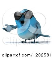Clipart Of A 3d Bluebird Wearing Sunglasses And Presenting To The Left Royalty Free Vector Illustration