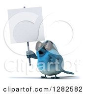 Clipart Of A 3d Bluebird Wearing Sunglasses And Holding A Blank Sign Royalty Free Vector Illustration