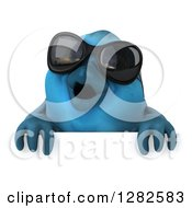 Clipart Of A 3d Bluebird Wearing Sunglasses Over A Sign Royalty Free Vector Illustration