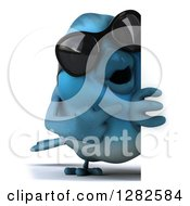 Clipart Of A 3d Full Length Bluebird Wearing Sunglasses And Pointing Around A Sign Royalty Free Vector Illustration