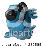 Clipart Of A 3d Bluebird Wearing Sunglasses And Pointing Around A Sign Royalty Free Vector Illustration