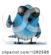 Clipart Of A 3d Bluebird Wearing Sunglasses And Giving A Thumb Up Royalty Free Vector Illustration
