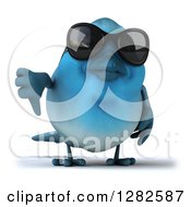 Clipart Of A 3d Bluebird Wearing Sunglasses And Giving A Thumb Down Royalty Free Vector Illustration