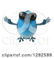 Clipart Of A 3d Bluebird Wearing Sunglasses And Flying Forward Royalty Free Vector Illustration