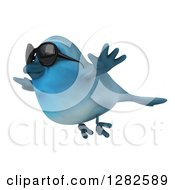 Clipart Of A 3d Bluebird Wearing Sunglasses And Flying To The Left Royalty Free Vector Illustration by Julos