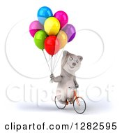 Clipart Of A 3d Happy Polar Bear Riding A Bicycle With Parry Balloons Royalty Free Vector Illustration