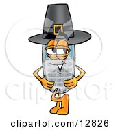 Clipart Picture Of A Wireless Cellular Telephone Mascot Cartoon Character Wearing A Pilgrim Hat On Thanksgiving