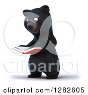Clipart Of A 3d Happy Black Bear Facing Slightly Left And Reading A Book Royalty Free Vector Illustration