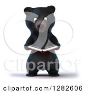 Clipart Of A 3d Happy Black Bear Reading A Book Royalty Free Vector Illustration