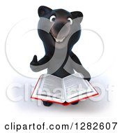 Clipart Of A 3d Happy Black Bear Holding Up A Thumb And Reading A Book Royalty Free Vector Illustration