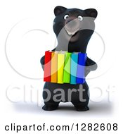 Clipart Of A 3d Happy Black Bear Carrying Colorful Books Royalty Free Vector Illustration