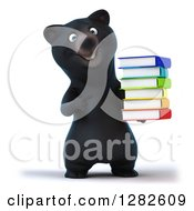 Clipart Of A 3d Happy Black Bear Holding And Pointing To A Stack Of Books Royalty Free Vector Illustration