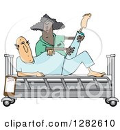 Clipart Of A Black Female Nurse Helping A White Male Patient Stretch For Physical Therapy Recovery In A Hospital Bed Royalty Free Vector Illustration