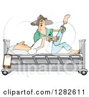 Clipart Of A White Female Nurse Helping A Male Patient Stretch For Physical Therapy Recovery In A Hospital Bed Royalty Free Vector Illustration