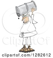 Clipart Of An Arab Man Holding Up A Crud Oil Barrel And Pouring Out The Last Drop Royalty Free Vector Illustration by djart