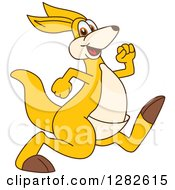 Clipart Of A Happy Kangaroo School Mascot Character Running Or Speed Walking Royalty Free Vector Illustration by Toons4Biz