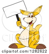 Clipart Of A Happy Kangaroo School Mascot Character Holding Up A Blank Sign Royalty Free Vector Illustration