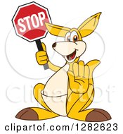 Clipart Of A Happy Kangaroo School Mascot Character Gesturing And Holding A Stop Sign Royalty Free Vector Illustration