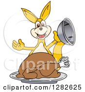 Clipart Of A Happy Kangaroo School Mascot Character Serving A Roasted Thanksgiving Turkey Royalty Free Vector Illustration