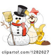 Clipart Of A Happy Christmas Kangaroo School Mascot Character By A Winter Snowman Royalty Free Vector Illustration by Toons4Biz
