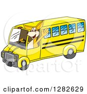 Clipart Of A Happy Kangaroo School Mascot Character Waving And Driving A Bus Royalty Free Vector Illustration