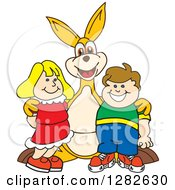 Clipart Of A Happy Kangaroo School Mascot Character Posing With School Children Royalty Free Vector Illustration by Toons4Biz
