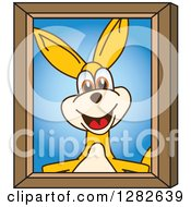 Clipart Of A Happy Kangaroo School Mascot Character Portrait Royalty Free Vector Illustration by Toons4Biz