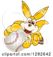Clipart Of A Happy Kangaroo School Mascot Character Holding Up Or Catching A Baseball Royalty Free Vector Illustration by Toons4Biz