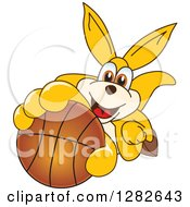 Clipart Of A Happy Kangaroo School Mascot Character Holding Up Or Catching A Basketball Royalty Free Vector Illustration by Toons4Biz