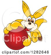 Clipart Of A Happy Kangaroo School Mascot Character Holding Up Or Catching A Red Ball Royalty Free Vector Illustration by Toons4Biz