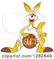 Clipart Of A Happy Kangaroo School Mascot Character Dribbling A Basketball Royalty Free Vector Illustration by Toons4Biz