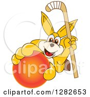 Clipart Of A Happy Kangaroo School Mascot Character Holding Up A Field Hockey Stick And Ball Royalty Free Vector Illustration by Toons4Biz