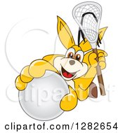 Clipart Of A Happy Kangaroo School Mascot Character Holding Up A Lacrosse Ball And Stick Royalty Free Vector Illustration by Toons4Biz