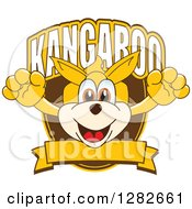 Clipart Of A Happy Kangaroo School Mascot Character Leaping Out From A Shield Over A Blank Banner Royalty Free Vector Illustration by Toons4Biz