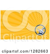 Clipart Of A Retro Male Pressure Washer And Orange Rays Background Or Business Card Design Royalty Free Illustration