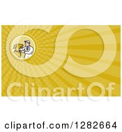 Clipart Of A Retro Cartoon Male Veterinarian And Dog And Yellow Rays Background Or Business Card Design Royalty Free Illustration by patrimonio
