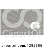 Clipart Of A Retro Cartoon Male Veterinarian And Dog And Gray Rays Background Or Business Card Design Royalty Free Illustration by patrimonio