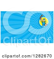 Poster, Art Print Of Cartoon Male Plumber Holding Up A Plunger And Blue Rays Background Or Business Card Design