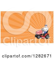 Clipart Of A Cartoon Man On A Ride On Lawn Mower And Orange Rays Background Or Business Card Design Royalty Free Illustration