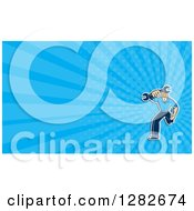 Clipart Of A Cartoon Mechanic Running With A Wrench And Blue Rays Background Or Business Card Design Royalty Free Illustration