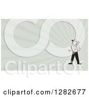 Poster, Art Print Of Cartoon Male Plumber With A Monkey Wrench And Rays Background Or Business Card Design