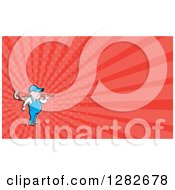 Poster, Art Print Of Cartoon Male Plumber With A Monkey Wrench On His Shoulders And Red Rays Background Or Business Card Design
