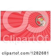 Clipart Of A Retro Mechanic Holding Out A Wrench And Red Rays Background Or Business Card Design Royalty Free Illustration