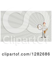 Retro Cartoon Satellite Tv Installer And Gray Rays Background Or Business Card Design