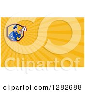 Clipart Of A Cartoon Male Police Officer Using A Megaphone And Yellow Rays Background Or Business Card Design Royalty Free Illustration by patrimonio